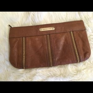 Michael Kors Leather Zipper Clutch